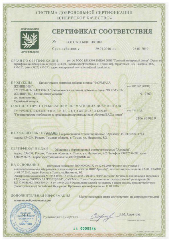 сертификат Формула Женщины