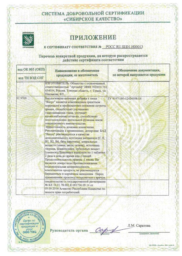 приложение к сертификату визус