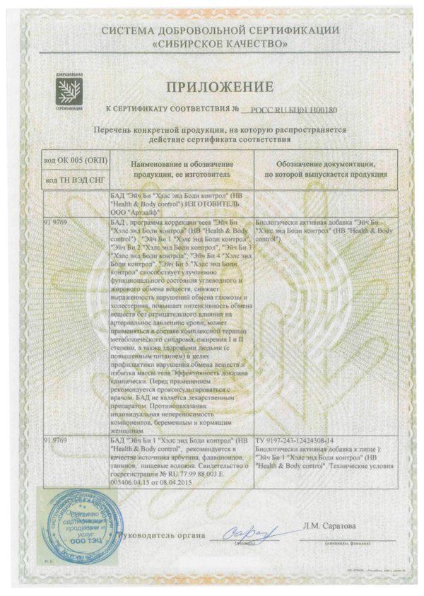 приложение к сертификату HB CONTROL